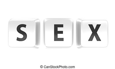 SEX written in black on white computer keys. Isolated background.