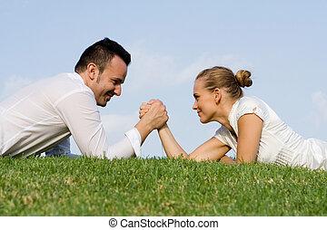 sexes., bataille, lutte, bras, business