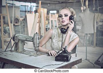 sexet, kvinde, telefon