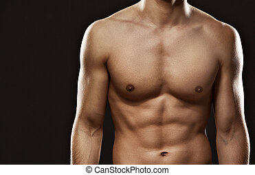 sexet, male's, torso, lukk oppe