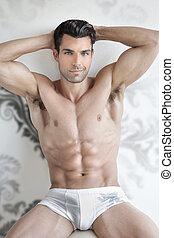 sexet, mandlig, undertøj, model