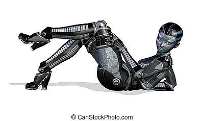 sexet, positur, -, robot, reclining