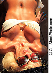 sexi, bikini, het poseren, model, passen