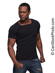 sexig, african amerikansk man, betrakta kamera