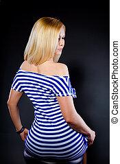 sexig, blondin, in, a, randig, klänning