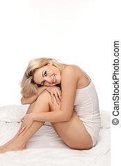 sexig, blondin, kvinna