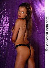 sexig, flicka, framställ, topless