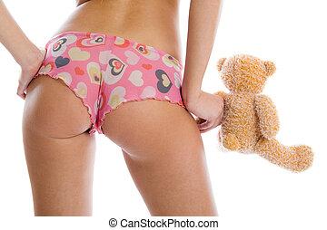 sexig, flicka, och, leksak, björn