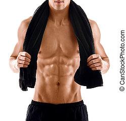 sexig, kropp, av, muskulös, man, med, handduk