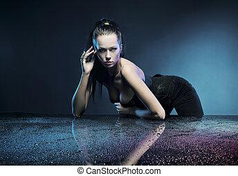 sexig, kvinna, framställ, ung