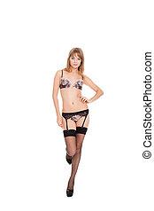 sexig, kvinna, in, damunderkläder, strumpa