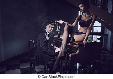 sexig, kvinna, med, exponeringsglas av wine