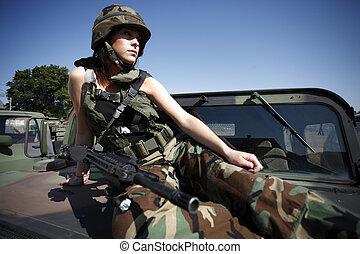 sexig, kvinna, militär