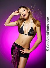 sexig, kvinna, på, purpur