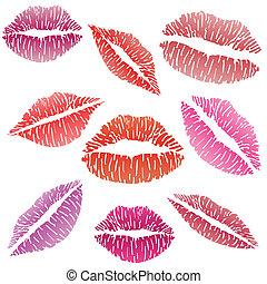 sexig, läppstift kyss