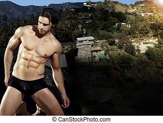 sexig, man, in, underkläder