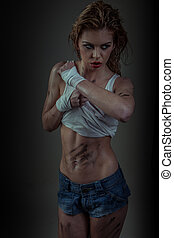sexig, modell, fitness