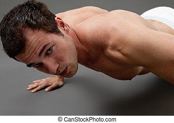 sexig, muskulös, man, gör, fitness
