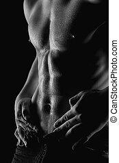 sexig, muskulös, naken, man, med, vatten gnuttar, på, mage
