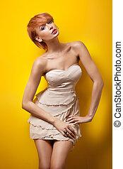 sexig, redhair, kvinna, framställ