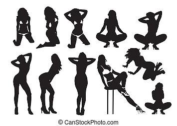 sexig, silhouettes, kvinna
