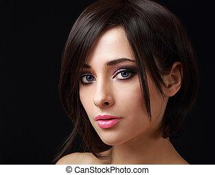 sexig, smink, kvinna, med, kort, svart hår, se
