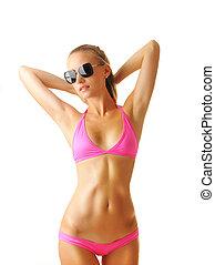 sexig, solbränna, kvinna, bikini