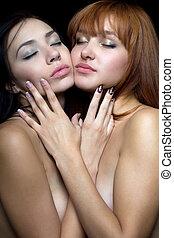 sexig, två kvinnor