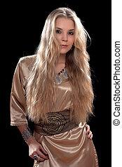 sexig, ung, blondin, in, a, klänning