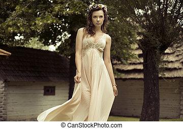 sexig, ung kvinna, med, färgrik, hatt