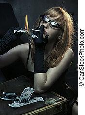 sexig, ung kvinna, rykande cigarrett