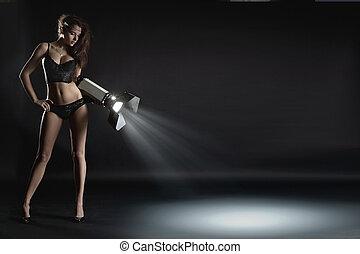 sexig, ung kvinna, visande, en, advertisment