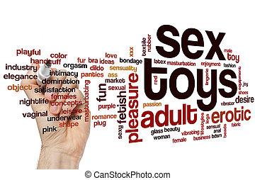 sexo, brinquedos, palavra, nuvem