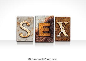 sexo, letterpress, conceito, isolado, branco