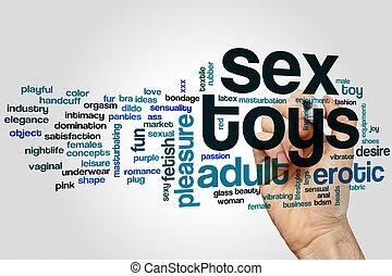 sexo, palabra, nube, juguetes