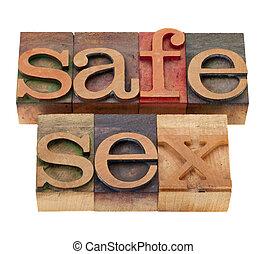 sexo seguro, palavras, em, madeira, fontes