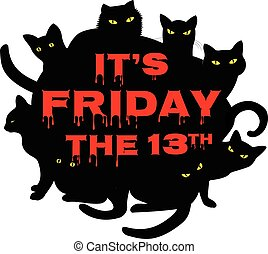 sexta-feira, 13, com, pretas, gatos
