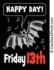 sexta-feira, 13th, com, morcego, drawing., 13, sexta-feira,...