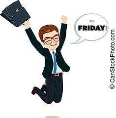 sexta-feira, feliz, pular, homem negócios