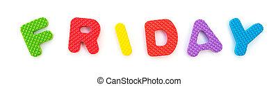 sexta-feira, palavra, dado forma, alfabeto, quebra-cabeça, jigsaw, branca