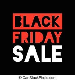 sexta-feira, -, venda, experiência preta, branco vermelho, ícone