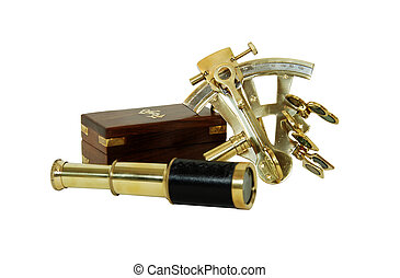 Sextant and Telescope - Brass Sextant used for navigating by...