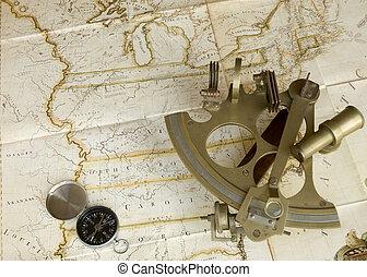 sextant, carte, compas