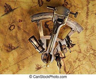 sextant, ligado, a, antigas, mapa