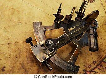 sextant, på, en, gammal, karta