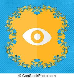 sexto, sentido, a, eye., floral, apartamento, desenho, ligado, um, azul, abstratos, fundo, com, lugar, para, seu, text.