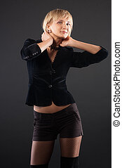 sexual blond woman in short skirt