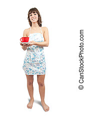 sexual girl in bib overalls with tea cup, isolated over white
