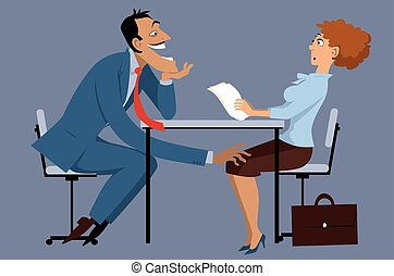 Sleazy businessman harassing a shocked female coworker, EPS8 vector illustration, no transparencies