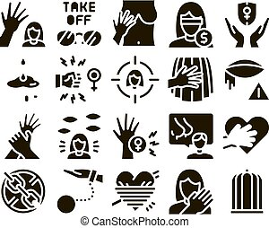 Sexual Harassment Glyph Set Vector. Victim And Woman Sexual ...